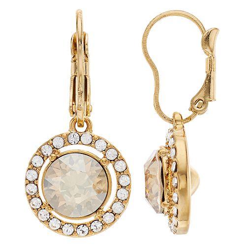 Brilliance Oval Halo Drop Earrings Swarovski Crystal