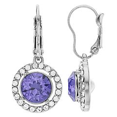Brilliance Oval Halo Drop Earrings Swarovski Crystal
