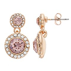 Brilliance Double Oval Halo Drop Earrings with Swarovski Crystal