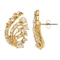 Brilliance Leaf Stud Earrings with Swarovski Crystal