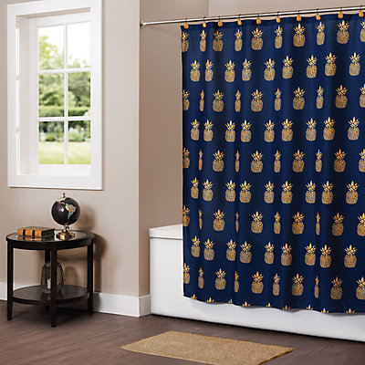 Saturday Knight, Ltd. Gilded Pineapple Fabric Shower Curtain