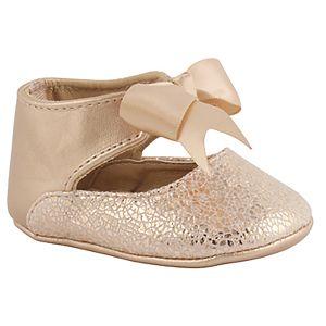 Baby Girl Wee Kids Rose Gold Metallic Ankle Strap Crib Shoes