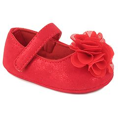 Baby Girl Wee Kids Red Flower Mary Jane Crib Shoes