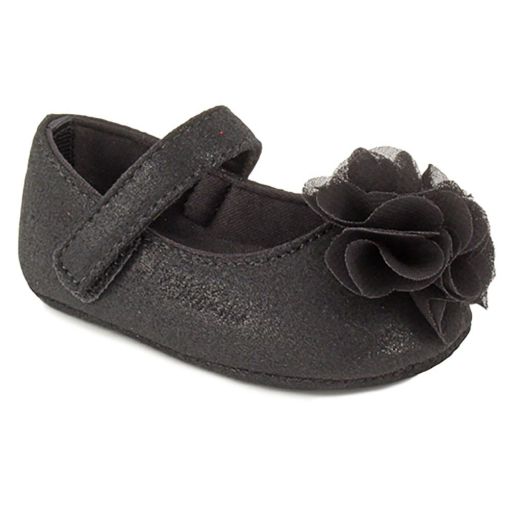 Baby Girl Wee Kids Black Flower Mary Jane Crib Shoes