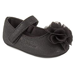Baby Girl Wee Kids Black Flower Mary Jane Crib Shoes