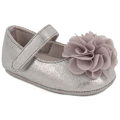 Baby Girl Wee Kids Silver Flower Mary Jane Crib Shoes