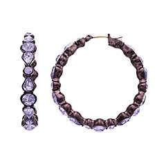 Simply Vera Vera Wang Hematite Tone Purple Simulated Crystal Detail Hoop Earrings