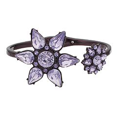 Simply Vera Vera Wang Hematite Tone Purple Simulated Crystal Flower Motif Hinge Cuff Bracelet