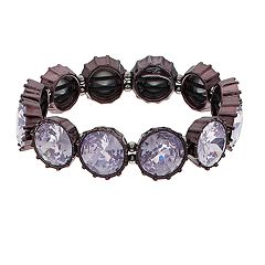 Simply Vera Vera Wang Hematite Tone Purple Simulated Crystal Stretch Bracelet