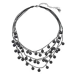 Simply Vear Vera Wang Black Bead Multi Strand Necklace