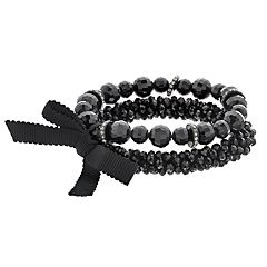 Simply Vera Vera Wang Black Bead Stretch Bracelet Set