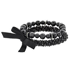 Simply Vera Vera Wang Black Bead Stretch Bracelet Set