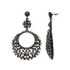 Simply Vera Vera Wang Black Hoop Drop Earrings