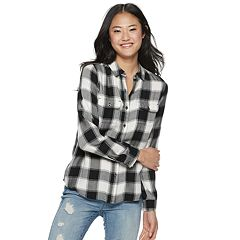 Juniors' SO® Plaid Button-Front Shirt