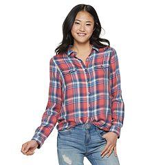 Juniors' SO® Plaid Button-Front Shirt
