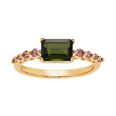 10k Gold Green & Pink Tourmaline Ring