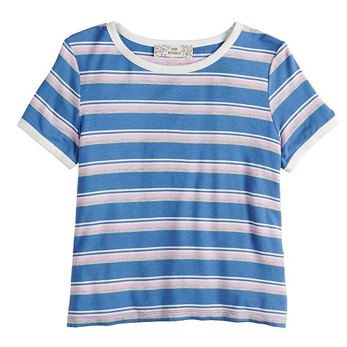 Girls 7-16 & Plus Size Pink Republic Striped Tee