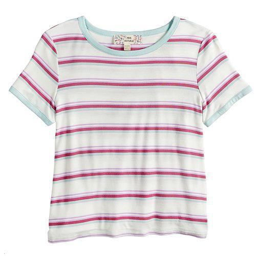 Girls 7-16 & Plus Size Pink Republic Striped Tee