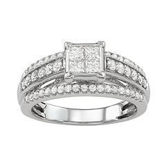14k White Gold 1 Carat T.W. Diamond Cluster Ring