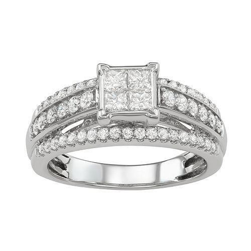 14k White Gold 1 Carat T.W. Diamond Cluster Ring