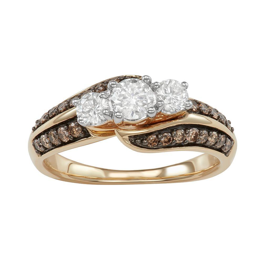 14k White Gold 1 Carat T.W. White & Champagne Diamond 3-Stone Ring