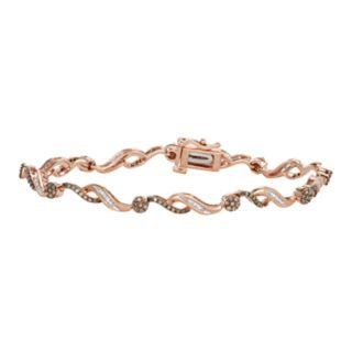 10k Rose Gold 1 Carat T.W. White & Champagne Diamond Bracelet