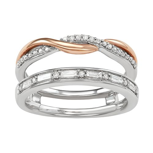 Two Tone 14k Gold 1/3Carat T.W. Diamond Double Band Ring