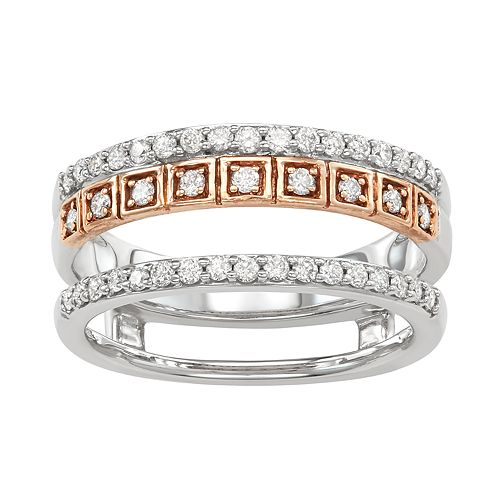Two Tone 14k Gold 1/2 Carat T.W. Diamond Double Row Ring