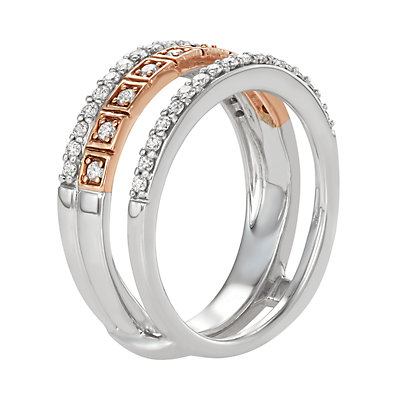 Two Tone 14k Gold 1/2 Carat T.W. Diamond Double Row Ring
