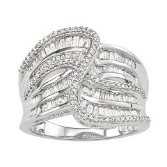 Sterling Silver 1 Carat T.W. Diamond Swirl Ring
