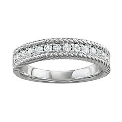 14k White Gold 1/2 Carat T.W. Diamond Rope Ring