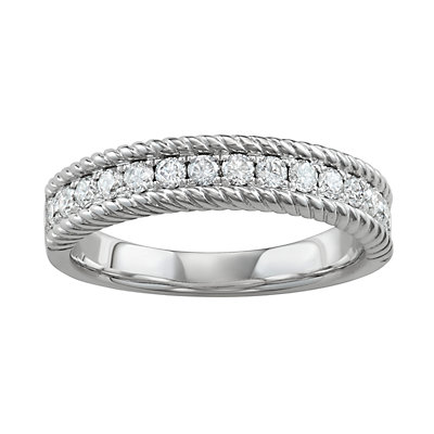 14k White Gold 1/2 Carat T.W. Diamond Rope Ring