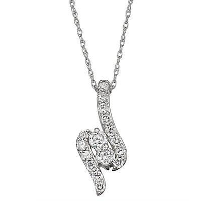 14k White Gold 1 Carat T.W. Diamond Twist Pendant Necklace