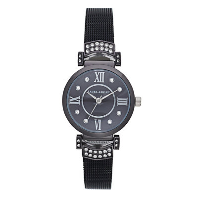 Laura Ashley Women's Deco Crystal Accent Mesh Watch