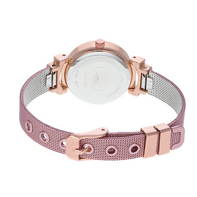 Laura Ashley Women's Deco Crystal Accent Pink Mesh Watch