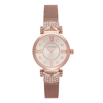 Laura Ashley Deco Crystal Accent Mesh Watch