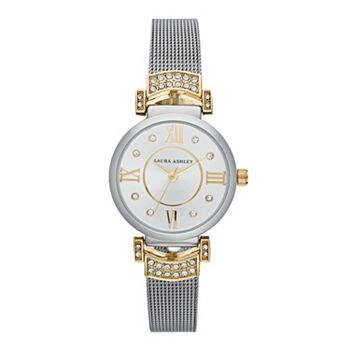 Laura Ashley Deco Crystal Accent Two Tone Mesh Watch