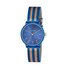 Laura Ashley Women's Striped Mesh Band Watch