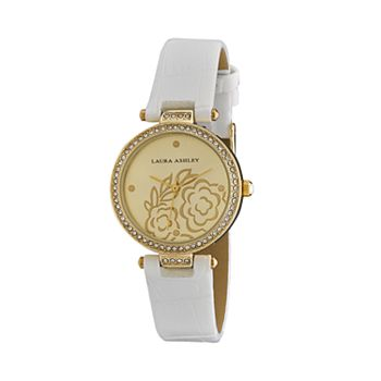 Laura Ashley Women's Crystal Accent Floral Watch