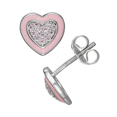 Charming Girl Sterling Silver Pink Heart Earrings