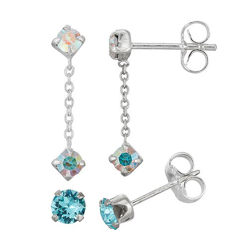 Charming Girl Sterling Silver Linear Drop Earrings & Stud Earrings Set - Made with Swarovski Crystals
