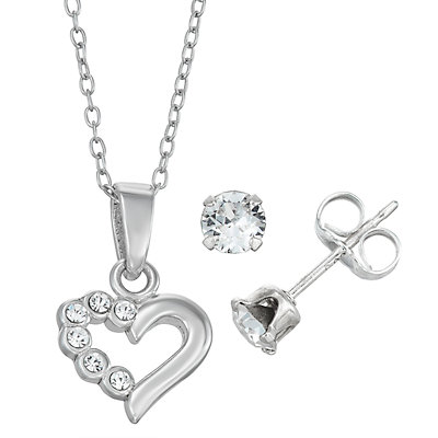 Charming Girl Sterling Silver Heart Pendant & Stud Earring Set - Made with Swarovski Crystals