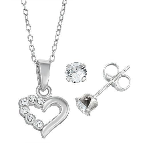 Charming Sterling Silver Heart Pendant Stud Earring Set