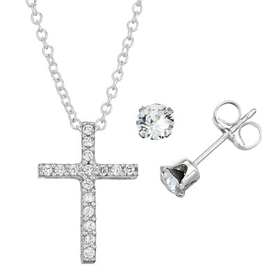 Charming Girl Sterling Silver Cross Pendant & Stud Earring Set - Made with Swarovski Crystals