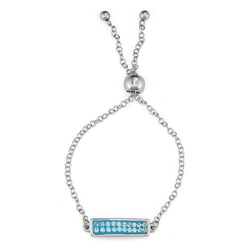 Charming Girl Blue Bar Adjustable Bracelet - Made with Swarovski Crystals