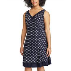 Plus Size Chaps Dot Fit & Flare Dress