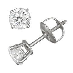14k White Gold 3/4 Carat T.W. GSI Certified Diamond Stud Earrings