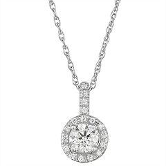 14k White Gold 1/2 Carat T.W. Diamond Halo Pendant Necklace