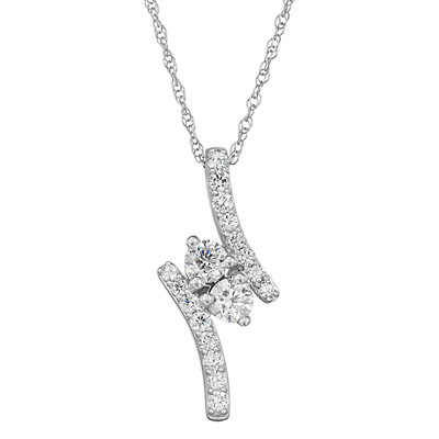 14k White Gold 1 Carat T.W. Diamond Bypass Pendant
