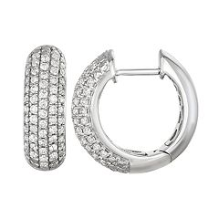 14k White Gold 3/4 Carat T.W. Diamond Huggie Hoop Earrings
